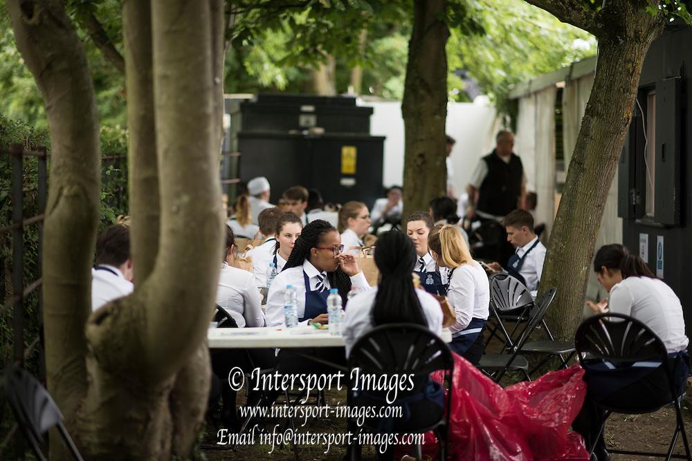 Henley on Thames. United Kingdom.      Thursday,  30/06/2016, staff enjoy a break during the  2016 Henley Royal Regatta, Henley Reach.   [Mandatory Credit Peter Spurrier/ Intersport Images]