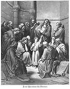 Jesus With (Questions) the Doctors [Luke 2:46-47] From the book 'Bible Gallery' Illustrated by Gustave Dore with Memoir of Dore and Descriptive Letter-press by Talbot W. Chambers D.D. Published by Cassell & Company Limited in London and simultaneously by Mame in Tours, France in 1866