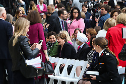Shadow Home Secretary Emily Thornberry, dead centre, shares a joke.<br /> <br /> A statue designed by Turner Prize-winning artist Gillian Wearing OBE of suffragist leader Millicent Fawcett is unveiled in Parliament Square by XXXX. The sculpture is the first-ever monument to a woman and the first designed by a woman to stand within the square and follows the successful campaign by feminist campaigner Caroline Criado-Perez who organised an 85,000 signature petition. London, April 24 2018.