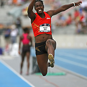 DAY - 13USA, Des Moines, Ia.- Sharon Day long jumps during the heptathlon.  Photo by David Peterson