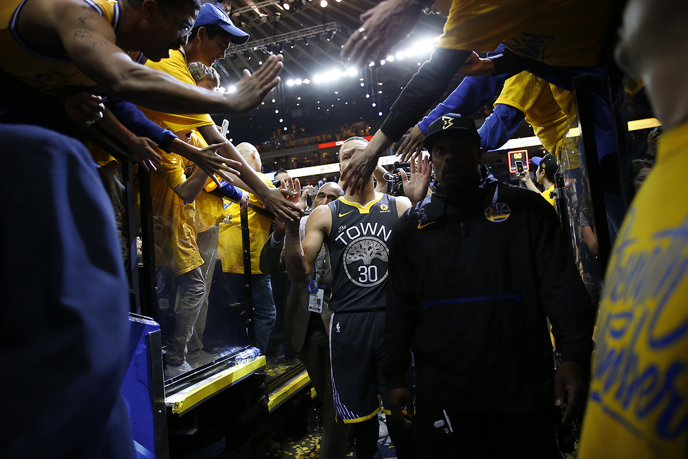 during the fourth quarter of Game 2 of the NBA Western Conference semifinals between the Golden State Warriors and New Orleans Pelicans at Oracle Arena, Tuesday, May 1, 2018, in Oakland, Calif.