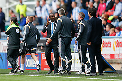 New Manager Chris Powell, in his first game in charge of Huddersfield has an argument with Middlesbrough goalie coach Leo Percovich - Photo mandatory by-line: Rogan Thomson/JMP - 07966 386802 - 13/09/2014 - SPORT - FOOTBALL - Huddersfield, England - The John Smith's Stadium - Huddersfield town v Middlesbrough - Sky Bet Championship.