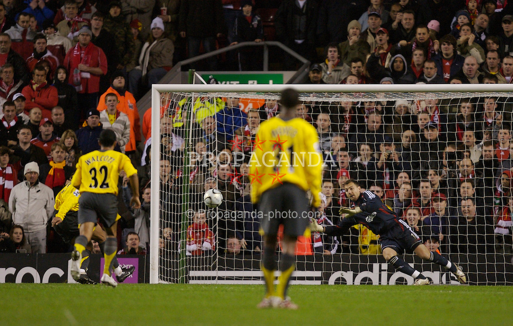 Liverpool, England - Tuesday, January 9, 2007: Liverpool's goalkeeper Jerzy Dudek saves the penalty from Arsenal's Julio Baptista during the League Cup Quarter-Final match at Anfield. (Pic by David Rawcliffe/Propaganda)