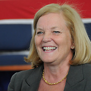 2/7/11 -- BRUNSWICK, Maine.  Congresswoman Chellie Pingree chats with constituents at NAS Brunswick. The U. S. Navy passed Hangar 6 over to the MRRA today in a ceremony attended by Maine Governor Paul LePage, Congresswoman Chellie Pingree and a host of other members of local and state government. Roger S. Duncan Photo / For The Forecaster