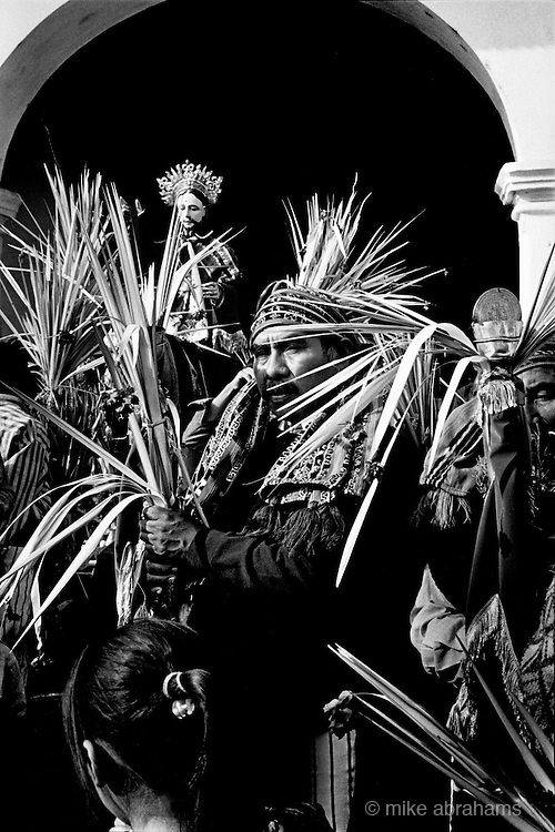 Holy Week, Santiago Atitlan. Guatemala. 1998. The village gathers at the church on Palm Sunday, where Catholic and traditional Maya rituals will make up the celebrations.