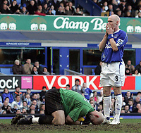 Photo: Paul Thomas.<br /> Everton v Reading. The Barclays Premiership. 14/01/2007.<br /> <br /> Andy Johnson (R) can't beileve his luck by not scoring this time. He does later score the equaliser.