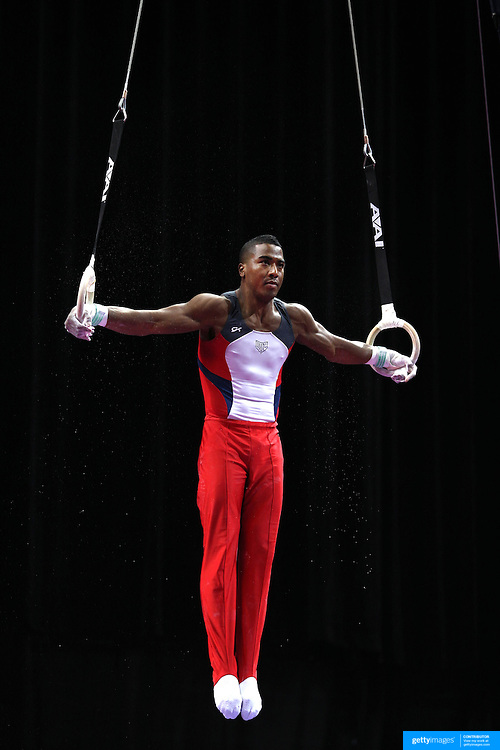 Joshua Dixon, Colorado Springs, Colorado, in action on the Still Rings during the Senior Men Competition at The 2013 P&G Gymnastics Championships, USA Gymnastics' National Championships at the XL, Centre, Hartford, Connecticut, USA. 16th August 2013. Photo Tim Clayton