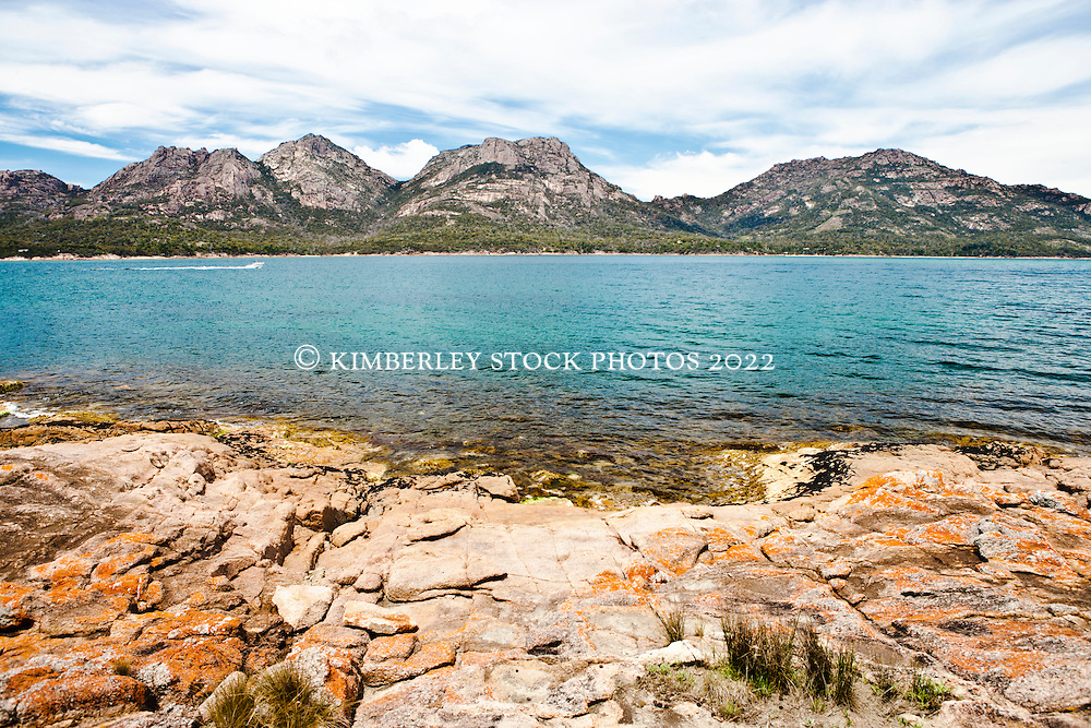 View across the water to the Hazards at Coles Bay, Freycinet, Tasmania.