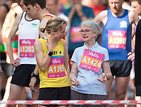 Runners Chat before the start of the Vitality Wave for The Vitality Westminster Mile, Sunday 28th May 2017.<br /> <br /> Photo: Ben Queenborough for The Vitality Westminster Mile<br /> <br /> For further information: media@londonmarathonevents.co.uk