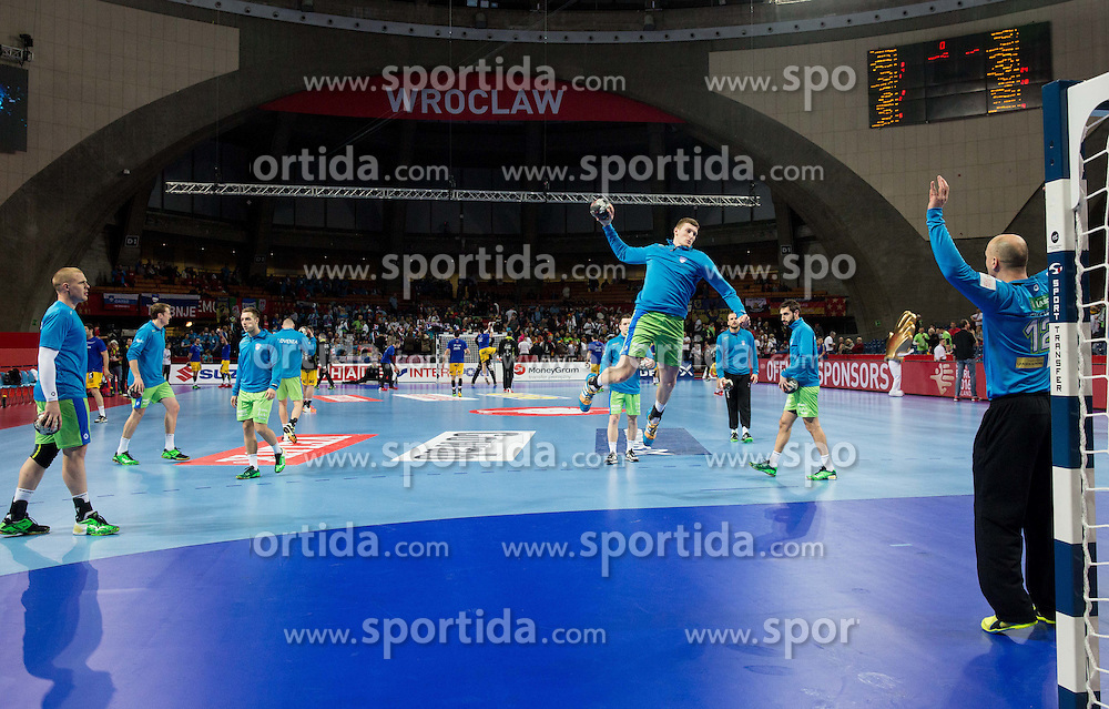 Blaz Blagotinsek of Slovenia and Gorazd Skof of Slovenia during warming up prior to the handball match between National teams of Slovenia and Spain on Day 4 in Preliminary Round of Men's EHF EURO 2016, on January 18, 2016 in Centennial Hall, Wroclaw, Poland. Photo by Vid Ponikvar / Sportida