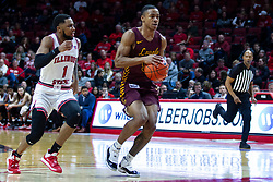 NORMAL, IL - January 19: Dedric Boyd struggles to catch up with Jalon Pipkins during a college basketball game between the ISU Redbirds and the Loyola University Chicago Ramblers on January 19 2020 at Redbird Arena in Normal, IL. (Photo by Alan Look)