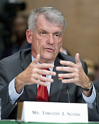 """October 3, 2017 - Washington, District of Columbia, United States of America - Timothy J. Sloan, Chief Executive Officer and President, Wells Fargo & Company, testifies before the United States Senate Committee on Banking, Housing, and Urban Affairs as they conduct a hearing entitled, """"Wells Fargo: One Year Later'' on Capitol Hill in Washington, DC on Tuesday, October 3, 2017. .Credit: Ron Sachs / CNP (Credit Image: © Ron Sachs/CNP via ZUMA Wire)"""
