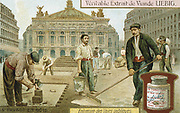 Surfacing a Paris street with wooden blocks. Liebig trade card c1900. Chromolithograph