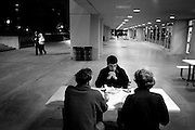 Students having dinner on campus the night of the shooting. Architecture sophomore, Rob Deane, was in a building near Norris Hall when the shooting occurred....photo: Hector Emanuel