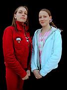 Two girls with hoop earings