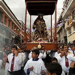 The image of Jesus of Nazareth is taken in procession through the streets of Ayacucho, Peru, on Tuesday during Holy Week.