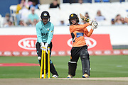 Danni Wyatt of Southern Vipers is bowled by Natalie Sciver during the Women's Cricket Super League match between Southern Vipers and Surrey Stars at the 1st Central County Ground, Hove, United Kingdom on 14 August 2018.