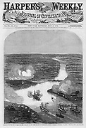 "Civil War:  Harper's Weekly  May 31, 1862 Cover BALLOON VIEW OF THE ATTACK ON FORT DARLING, IN THE JAMES RIVER, BY COMMANDER ROGERS'S GUN-BOAT FLOTILLA, ""GALENA,"" ""MONITOR,"" ETC.--[SEE PAGE 343.] .THE BATTLE AT FORT DARLING...WE illustrate on page 337 the unequal conflict between our gun-boats Galena and Monitor and a powerful rebel fort called Fort Darling, on the banks of the James River, some seven miles from Richmond. It seems that our gun-boats Galena, Monitor, Aroostook, Port Royal, and Naugatuck advanced up the James River to within seven miles of Richmond, passing or silencing the batteries as they advanced. At Fort Darling they found the river obstructed with sunken vessels and stones, and were exposed to a heavy plunging fire from a fort situate on a bluff 200 feet high. The Naugatuck burst her gun--a 100-pounder Parrott--at the 7th fire. The wooden vessels sheered off, being incapable of standing the fire from the fort and the rifle-pits with which the river shores were lined. For four hours the Galena and Monitor fought the forts at great disadvantage. They were exposed to a plunging fire which they were not built to withstand; the deck of the Galena was perforated by almost every shot, and her loss in killed and wounded was heavy. Neither vessel could elevate her guns sufficiently to silence the batteries of Fort Darling. After four hours' fighting the squadron therefore withdrew...Commodore Goldsborough has since gone up the the river with his squadron and some mortar-boats, with which it is believed he will soon be able to take Fort Darling and clear the way to Richmond. ."