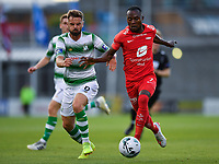 18 July 2019; Gilbert Koomson of SK Brann in action against Greg Bolger of Shamrock Rovers during the UEFA Europa League First Qualifying Round 2nd Leg match between Shamrock Rovers and SK Brann at Tallaght Stadium in Dublin. Photo by Seb Daly/Sportsfile