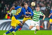 James Forrest (#49) of Celtic FC is fouled by Konrad Laimer (#27) of RB Leipzig during the Europa League group stage match between Celtic and RP Leipzig at Celtic Park, Glasgow, Scotland on 8 November 2018.
