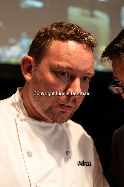 Spanish chef Albert Adria during a show with Brian McKenna at UCCA in Beijing.