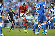 midfielder Michail Antonio of Nottingham Forest shoots at goal during the Sky Bet Championship match between Brighton and Hove Albion and Nottingham Forest at The American Express Community Stadium, Brighton and Hove, England on 7 August 2015. Photo by Phil Duncan.