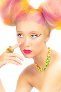 Beauty photography by Gerard Harrison, Image Theory Photoworks. Candy look to advertise fashion show Sweet Side of Fashion by When Worlds Collide.  Makeup designed by Dorothy Strouhal, YourMakeupExpert.com