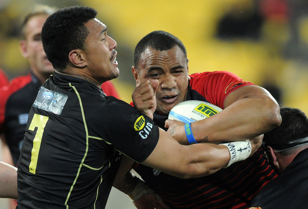 Canterburys' Nasi Manu, right, clashes with Wellingtons' Ardie Savea in the ITM Cup Rugby Premiership Final at Westpac Stadium, Wellington, New Zealand, Saturday, October 26, 2013. Credit:SNPA / Ross Setford
