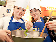 1/7/2012 Nicole and Kiara Healy from Athenry Galway who took part in the Euro- toques Mini-Chef Children's Workshop with  Gary O'Hanlon, Viewmount House in the Food Pavillion, Global Village  which is part of the Volvo Ocean Race festivities in Galway for the Final leg of the grueling round the world race.  Picture :Andrew Downes.