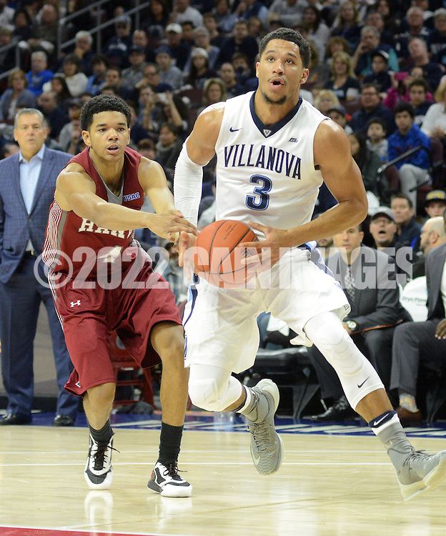 Villanova's Josh Hart (3) drives the net as IUP's (4) defends in the first half Saturday, November 5, 2016 at the Wells Fargo Center in Philadelphia, Pennsylvania. (WILLIAM THOMAS CAIN / For The Philadelphia Inquirer)