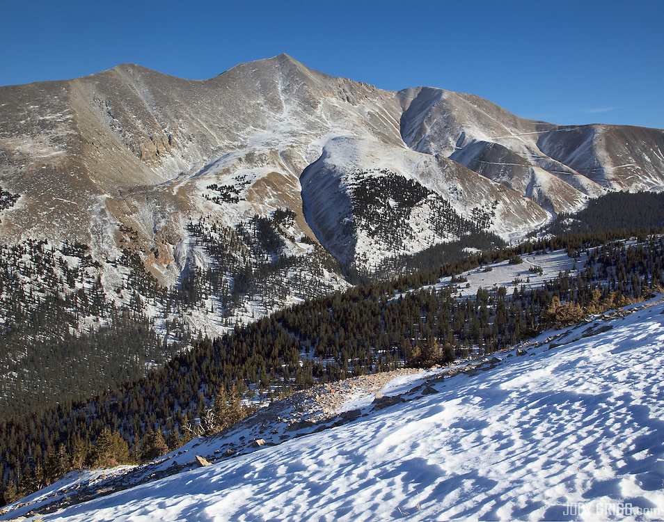 Mount Antero's 14,269ft, west face is viewed from the upper slopes of Boulder Mountain.