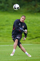 CARDIFF, WALES - Friday, September 5, 2008: Wales' goalkeeper Boaz Myhill during training at Vale of Glamorgan Hotel ahead of the second 2010 FIFA World Cup South Africa Qualifying Group 4 match against Russia. (Photo by David Rawcliffe/Propaganda)
