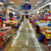 Inside of Jagalchi Fish Market in Busan, South Korea<br />
