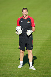 CARDIFF, WALES - Monday, August 30, 2010: Wales' goalkeeping coach Paul Jones during training at the Vale of Glamorgan ahead of the UEFA Euro 2012 Qualifying Group 4 match against Montenegro. (Pic by David Rawcliffe/Propaganda)