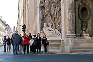 Roma 10 Marzo 2015<br /> Restaurato il complesso monumentale  delle Quattro Fontane<br /> Il Tevere, l'Arno, Giunone e Diana tornano a zampillare dopo nove mesi di lavori finanziati dalla maison Fendi  per un costo totale di 320.000 euro. La fontana Tevere<br /> Rome March 10, 2015<br /> Restored the monument of Quattro Fontane<br /> The Tiber, the Arno, Juno and Diana return to gush after nine months of work funded by the fashion house Fendi for a total cost of 320,000 Euros. The fountain the River Tiber