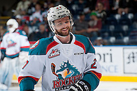 KELOWNA, CANADA - MAY 13:  Josh Morrissey #27 of Kelowna Rockets skates during warm up against the Portland Winterhawks on May 13, 2015 during game 4 of the WHL final series at Prospera Place in Kelowna, British Columbia, Canada.  (Photo by Marissa Baecker/Shoot the Breeze)  *** Local Caption *** Josh Morrissey;