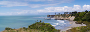 Panoramic view of Buller Bay and Cape Foulwind on a pleasant summer day, near Westport, West Coast, New Zealand