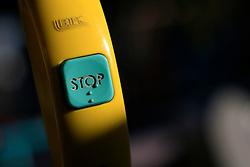 UK ENGLAND LONDON 8DEC13 - Stop button on board a double-decker bus in Hackney, east London.<br /> <br /> <br /> <br /> jre/Photo by Jiri Rezac<br /> <br /> <br /> <br /> © Jiri Rezac 2013
