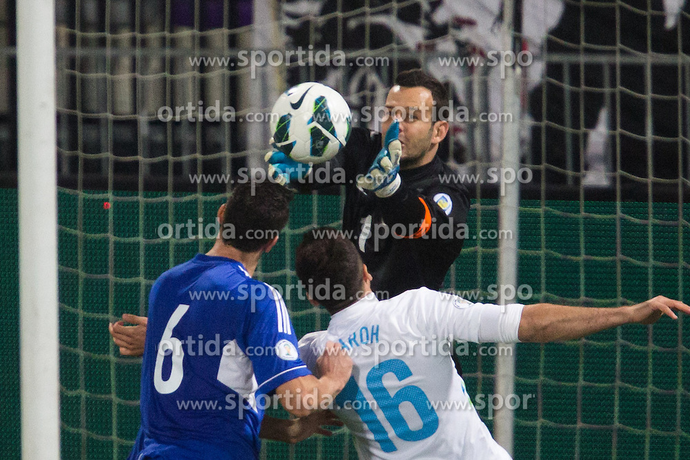 Samir Handanovic of Slovenia during football match between National teams of Slovenia and Cyprus in 3rd Round of Group E of FIFA World Cup 2014 Qualification on October 12, 2012 in Stadium Ljudski vrt, Maribor, Slovenia. (Photo by Matic Klansek Velej / Sportida)