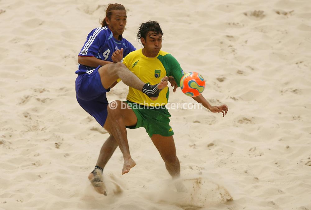 Football-FIFA Beach Soccer World Cup 2006 - Group A- Brazil - Japan, Beachsoccer World Cup 2006. Brasilian's Bruno and Japan's Makino - Rio de Janeiro - Brazil 05/11/2006. Mandatory credit: FIFA/ Manuel Queimadelos