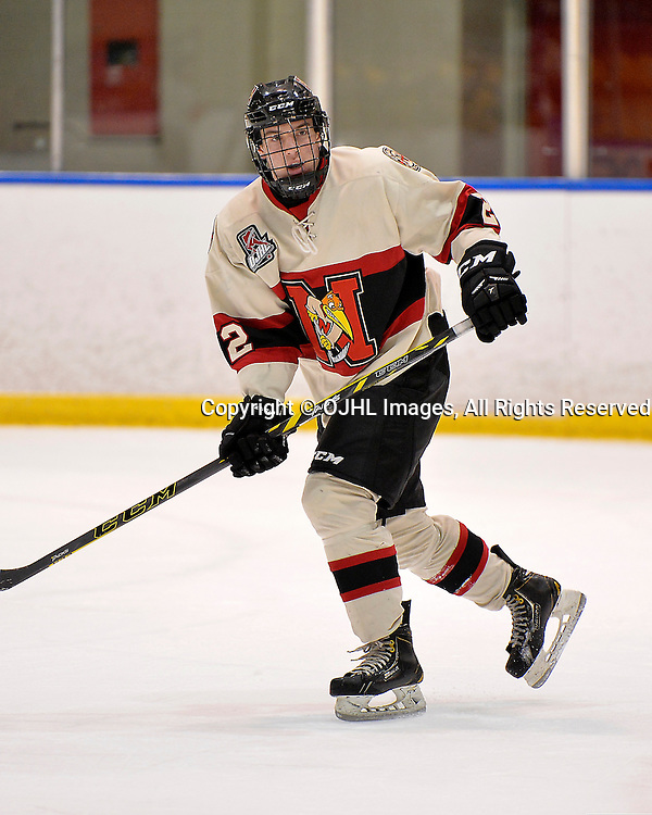 WHITBY, ON - Oct 9, 2015 : Ontario Junior Hockey League game action between Newmarket and Whitby, Nick Kalpousos #2 of the Newmarket Hurricanes during the second period.<br /> (Photo by Shawn Muir / OJHL Images)
