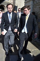 Left to right, JAMIE MURRAY-WELLS and JACK BROOKSBANK at the wedding of Lady Natasha Rufus Isaacs to Rupert Finch held at St.John The Baptist Church, Cirencester, Gloucestershire, UK on 8th June 2013.