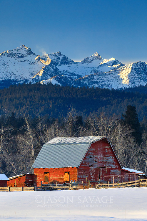Red Barn and Como Peaks in the Bitterroot Valley, Montana.