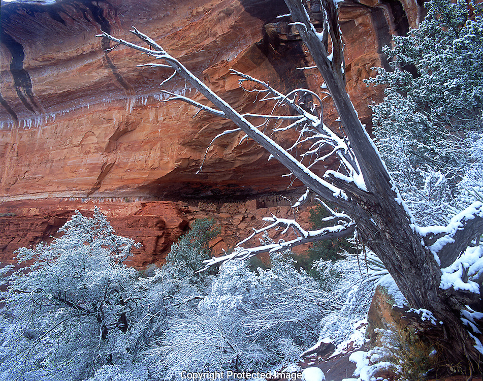 Boynton Canyon ruin in fresh snow Sedona AZ