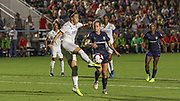 Olympique Lyonnais defender Lucy Bronze (2) receives a pass while North Carolina Courage forward Kristen Hamilton (23) looks to pressure the ball during an International Champions Cup women's soccer game, Sunday, Aug. 18, 2019, in Cary, Olympique Lyonnais bested the North Carolina Courage 1-0 in the finals.  (Brian Villanueva/Image of Sport)