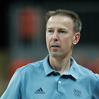06 August 2012:  France head coach Vincent Collet is seen prior to the 79-73 Team France victory over Team Nigeria, during the men's basketball preliminary, at the Basketball Arena, in London, Great Britain.