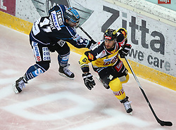 12.02.2015, Albert Schultz Eishalle, Wien, AUT, EBEL, UPC Vienna Capitals vs EHC Liwest Linz, Zwischenrunde, im Bild Curtis Murphy (EHC Liwest Linz) und Rafael Rotter (UPC Vienna Capitals) // during the Erste Bank Icehockey League intermediate heats match between UPC Vienna Capitals and EHC Liwest Linz at the Albert Schultz Ice Arena, Vienna, Austria on 2015/02/12. EXPA Pictures © 2015, PhotoCredit: EXPA/ Thomas Haumer