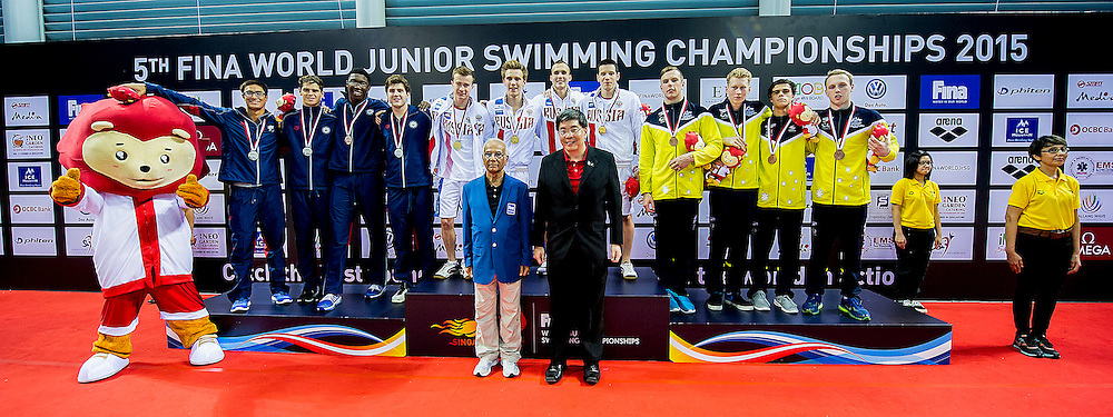 Podium<br /> Russian Federation RUS Gold Medal and New Junior World Record<br /> Team Unites States USA Silver Medal<br /> Team Australia AUS Bronze Medal<br /> 4X100 Medley Relay Men Final <br /> Day06 30/08/2015 - OCBC Aquatic Center<br /> V FINA World Junior Swimming Championships<br /> Singapore SIN  Aug. 25-30 2015 <br /> Photo A.Masini/Deepbluemedia/Insidefoto