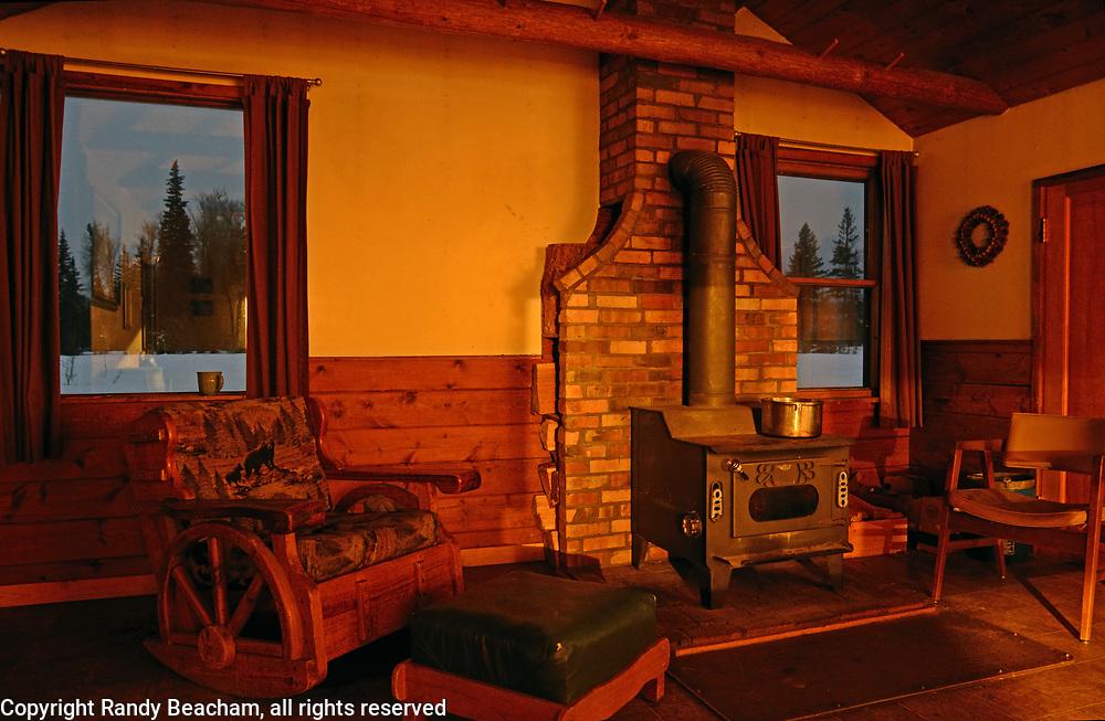 Interior of Ben Rover Cabin, a Forest Service rental cabin at Polebridge, northwest Montana.