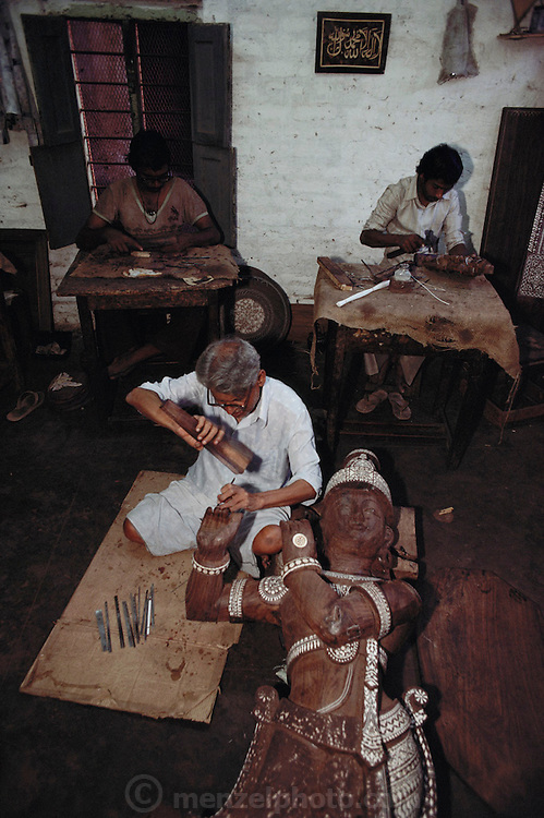 Woodcarvers, Mysore, South India.